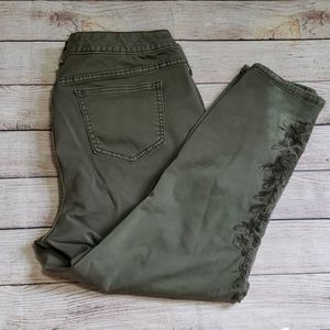 Torrid | Army green embroidered jeans